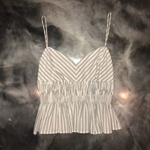 Express striped peplum tank